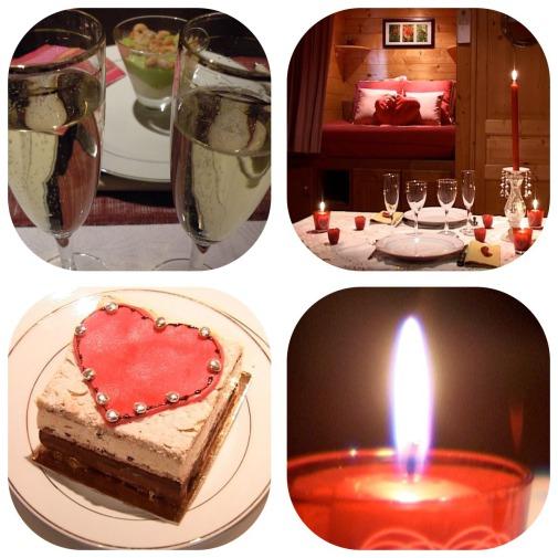 détails de la table du séjour romantique